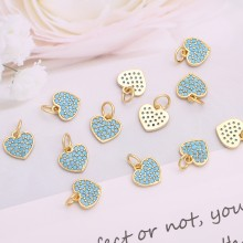 Aobei Pearl, 3 PCS from the Sale, 18K Gold Plated Heart Charms for Jewelry Making, Charms Inlaied with Blue Gemstones, Jewelry Findings, DIY Jewelry Materia, ETS-K255