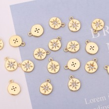 Aobei Pearl, 5 PCS from the Sale, 18K Gold Plated CZ Compass Charm for Jewelry Making, Jewelry Findings, DIY Jewelry Materia, ETS-K257