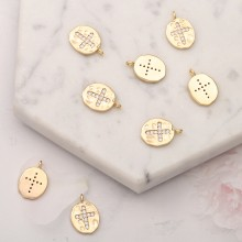 Aobei Pearl, 5 PCS from the Sale, 18K Gold Plated CZ Cross Charm for Jewelry Making, Jewelry Findings, DIY Jewelry Material, ETS-K267