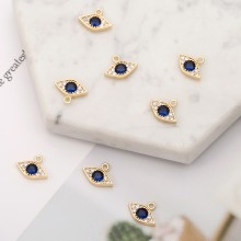 Aobei Pearl, 4 PCS from the Sale, 18K Gold Plated CZ Evil Eye Charm for Jewelry Making, Jewelry Findings, DIY Jewelry Material, ETS-K272