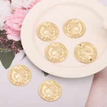 Aobei Pearl, 10 PCS from the Sale, 18K Gold Plated Portrait Disc Charm for Jewelry Making, Jewelry Findings, DIY Jewelry Material, ETS-K275
