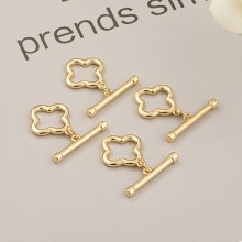 Aobei Pearl, 5 Pairs from the Sale, 18K Gold Four-leaf Clover Shape OT Toggle Clasp for Jewelry Making, Jewelry Findings, DIY Jewelry Material, ETS-K288