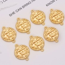 Aobei Pearl, 10 PCS from the Sale, 18K Gold Plated Pisces Disc Charm for Jewelry Making, Jewelry Findings, DIY Jewelry Material, ETS-K307