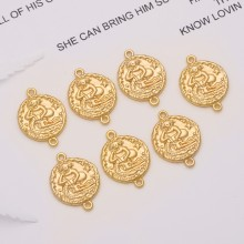 Aobei Pearl, 10 PCS from the Sale, 18K Gold Plated Aquarius Disc Charm for Jewelry Making, Jewelry Findings, DIY Jewelry Material, ETS-K312