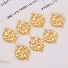 Aobei Pearl, 10 PCS from the Sale, 18K Gold Plated Aries Disc Charm for Jewelry Making, Jewelry Findings, DIY Jewelry Material, ETS-K313