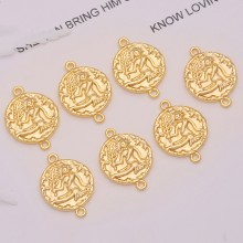 Aobei Pearl, 10 PCS from the Sale, 18K Gold Plated Virgo Disc Charm for Jewelry Making, Jewelry Findings, DIY Jewelry Material, ETS-K314