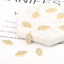 Aobei Pearl, 3 PCS from the Sale, 18K Gold Plated CZ Hamsa Charm for Jewelry Making, Jewelry Findings, DIY Jewelry Material, ETS-K328