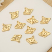 Aobei Pearl, 5 PCS from the Sale, 18K Gold Plated Evil Eye Charm for Jewelry Making, Jewelry Findings, DIY Jewelry Material, ETS-K348