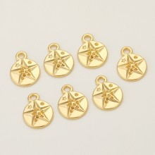 Aobei Pearl, 10 PCS from the Sale, 18K Gold Plated Star Pattern Coin Disc Charm for Jewelry Making, Jewelry Findings, DIY Jewelry Material, ETS-K349