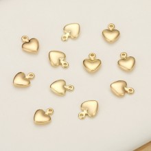 Aobei Pearl, 20 PCS from the Sale, 18K Gold Plated Love Heart Charm for Jewelry Making, Jewelry Findings, DIY Jewelry Material, ETS-K356