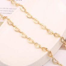 Aobei Pearl, 1 Meter from the Sale, 18K Gold Hollow Love Heart Link Chain for Jewelry Making, Jewelry Findings, DIY Jewelry Material, ETS-K573