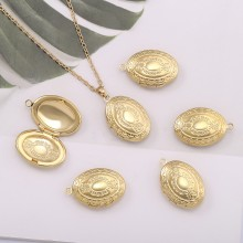 Aobei Pearl, 5 PCS from the Sale, 18K Gold Oval Locket Cage Charm for Jewelry Making, Jewelry Findings, DIY Jewelry Material, ETS-K575