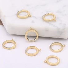 Aobei Pearl, 5 PCS from the Sale, 18K Gold Cubic Zirconia Round Hollow Circle Charm for Jewelry Making, Jewelry Findings, DIY Jewelry Material, ETS-K588