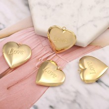 """Aobei Pearl, 4 PCS from the Sale, 18K Gold Engraved """"Love"""" Heart Shape Locket Cage Charm for Jewelry Making, Jewelry Findings, DIY Jewelry Material, ETS-K601"""