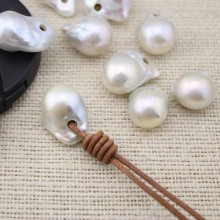 Aobei Pearl -  1 piece Freshwater Pearl Loose Pearl Bead White 13-15mm Big Keshi Pearl 2.5 mm Large Hole Loose Bead, ETS-L0028