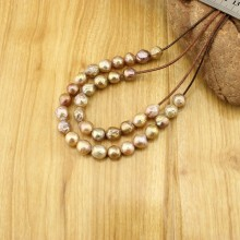"""Aobei Pearl - 5 Pieces from the Sale, 11-12 mm  Golden-pink """" Edison """" ( Keshi ) Freshwater Pearl with 2.5 mm Large Hole, ETS-L0126"""