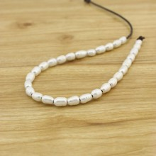 40 pieces white rice pearls , Cultural freshwater pearl , Loose pearl strand , Necklace pearls , 7-8 mm rice pearls ,2.5 mm hole, ETS-L0137