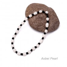 Aobei Pearl, Handmade Real Leather Fashion Necklace made of 11-12 mm Rice White Freshwater Pearl, ETS-N003