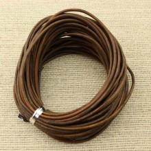 Aobei Pearl -  10 yards, ETS-P013 Leather cord, round leather cord, 2mm brown color real leather cord, antique leather string