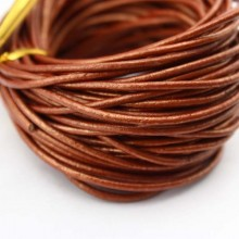 10 yards 2.0 mm Smooth brown round leather cord, leather cord, leather jewelry, ETS - P041