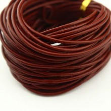 Red leather cord, round leather cord, leather cord 2.0 mm, 10 Yards, ETS - P044