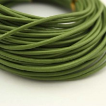10 Yards, 2.0 mm Light green leather cord, round leather cord, genuine leather cord, ETS - P045