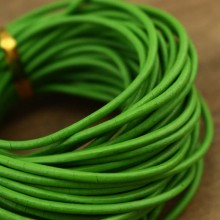 10 yards 2.0 mm Green round leather cord, genuine leather cord, leather jewelry, ETS - P050