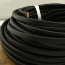 Aobei Pearl - 24 Inches from the Sale, Black flat leather cord, genuine leather cord, wholesale, Diameter is 10 mm * 6 mm, ETS-P054