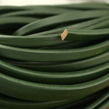 Aobei Pearl - 24 Inches from the Sale, Dark green flat leather cord, genuine leather cord,  ETS-P059