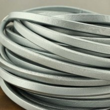 Aobei Pearl - 24 Inches from the Sale, 10 mm * 6 mm Grey flat leather cord, leather cord, genuine leather,  wholesale, ETS-P061