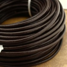 Dark brown round leather cord, genuine leather cord, 10 Yards, 4/5/6 mm, wholesale, ETS - P076