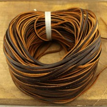 Aobei Pearl - 2.0 mm * 2.5 mm Flat Worn Leather Cord, 10 Yards from the Sale, Genuine Leather Cord, ETS-P079