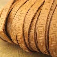 ETS-P097   10mm * 2mm 5-yard brown flat leather rope