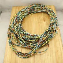 10 yards, Ethnic Stitched Fabric Cord,Cotton fabric cord,bohemian cord,round string cord,boho cord,cotton cord,floral fabrics cord,ETS-P133