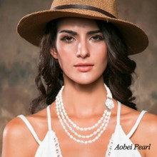 Aobei Pearl Handmade Necklace made of Freshwater Pearl and Shell Flower Clasp, Pearl Necklace, 3 Strands Necklace, Bride Necklace, ETS-S034