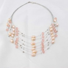 Genuine cultured rice freshwater pearl tennis womens necklace jewelry gift  ETS-S039