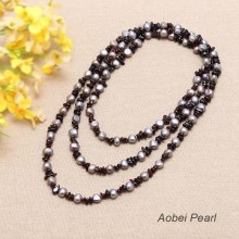Aobei Pearl Handmade Necklace made of Freshwater Pearl and Garnet, Long Beaded Necklace, Wrap Necklace, Pearl Necklace, ETS-S047