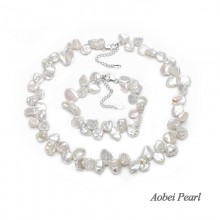 Aobei Pearl Handmade Necklace and Bracelet made of White Keshi Cultured Freshwater Pearl and 925 String Silver Clasp, Jewelry Sets, Pearl Necklace, Pearl Bracelet, ETS-S058