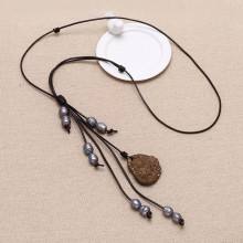 ETS-S059 Wedding necklace freshwater pearl necklace strand with agate pendant, leather necklace leather pearl necklace, 1 piece