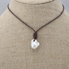 Fashion black leather real white Keshi pearl handmade necklace 17.71'' no metal ETS-S060