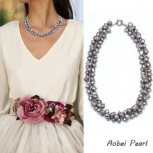 Aobei Pearl Handmade Necklace made of Freshwater Pearl and Alloy Accessory, Pearl Necklace, Bib Necklace, ETS-S063