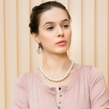 Aobei Pearl - Fashion 10-11 mm Button White Pearl Bib Necklace Wedding Necklace, ETS - S073