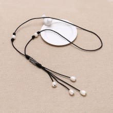 Women Pearl Necklace Freshwater rice and potato beads Handmade women leather necklace nature pearls pendant,ETS-S095