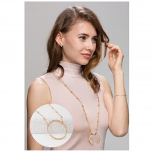 Aobei Pearl 18K Gold Long Chain Strand Hammered Karma Circle Pendant Necklace Handmade Adjustable Jewelry for Women, Charm Dangle Necklace, ETS-S1000
