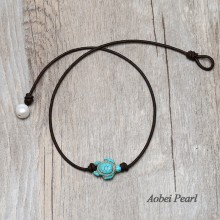 Aobei Pearl - Handmade Choker Necklace with Freshwater Pearl, Tortoise Turquoise & Leather Cord, Pearl Necklace, ETS-S1001-1