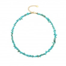 Aobei Perl Handmade Irregular Turquoise Beaded Choker Adjustable Gilt Chain Necklace, Boho Turquoise Necklace for Women, ETS-S1007