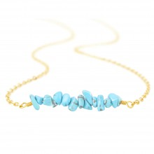 Aobei Pearl ,high-luster Beaded Irregular Turquoise Pendant,18K Gold Plated shiny Handmade necklaces,adjustable Chain Link, Charm Jewelry for Women Holiday gifts,ETS-S1034