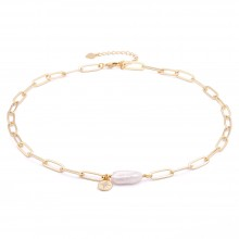 Aobei Pearl,18k gold plated oval link chain,cultured freshwater biwa pearl Necklace,dainty Necklace, compass charm  pendant with cubic zirconia crystal,Jewelry for Women Necklace, ladies gifts ETS-S1049
