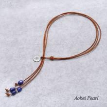 Aobei Pearl - Handmade Bridal Wedding Necklace with Pearl & Leather, Leather Pearl Necklace, ETS-S104