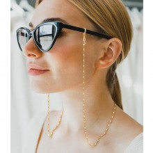 Aobei Pearl, 18K Gold Rhombus Chain for Eyeglasses, Sunglass Chain with Rhombus Beads,  Dainty Gold Chain for Women, Long Rhombus Chain Necklace, Fashion Jewelry for Women Girls, ETS-S1094